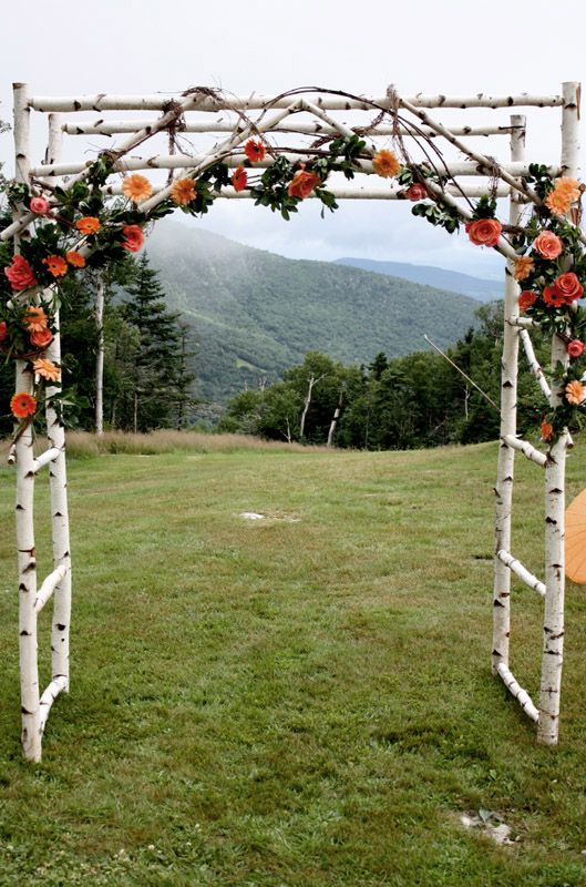 A Birch Wedding Arbor For An Outdoor Country Rusic Wedding