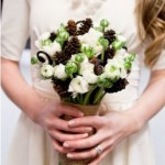 Bride With A Pine Cone Bouquet