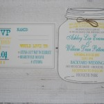 White Mason Jar Wedding Invitation