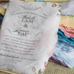 floral hankerchief wedding invitation