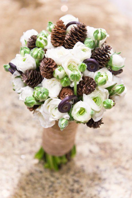 Pine cone bridal bouquet rustic country fall winter weddings