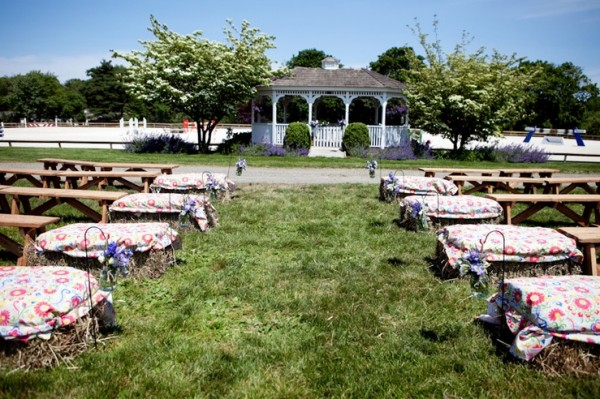 Country Wedding With Hay Seating