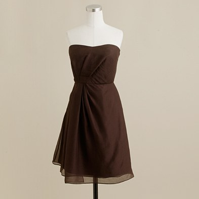 J.Crew Brown Strapless Bridesmaid Dress