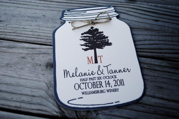 blue mason jar wedding invitations