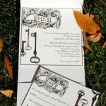 Skeleton Key Vintage Style Wedding Invitation