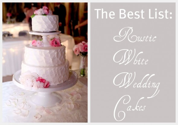 Here are a few rustic white wedding cakes from the past few months that are