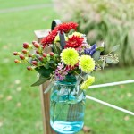 Country Wedding Blue Mason Jar