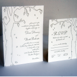 Tree Letterpress Wedding Invitation