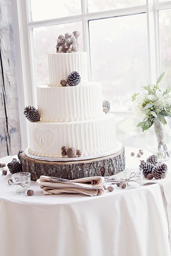 Rustic Wedding Cake With Pinecones