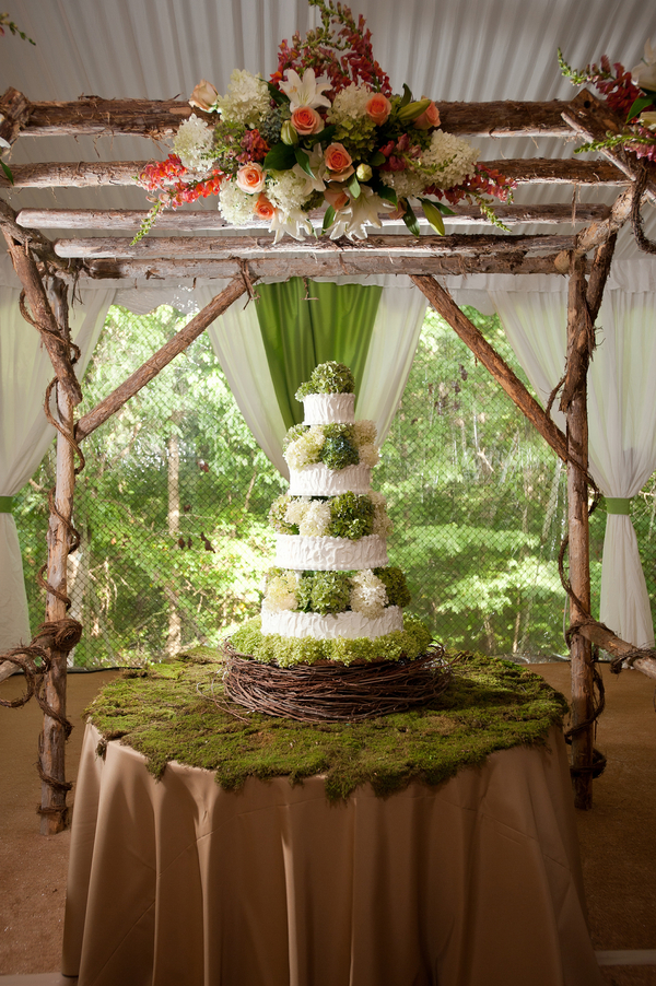 rustic themed wedding cake table rustic country backyard wedding in tennessee 19515