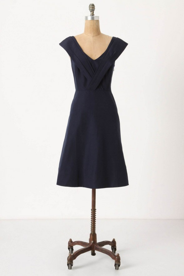 navy-blue-cap-sleeve-bridesmaid-dress