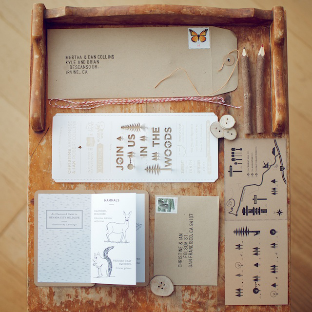 Rustic Wedding Invitation Ideas: Woodsy Rustic Style Wedding Invitation
