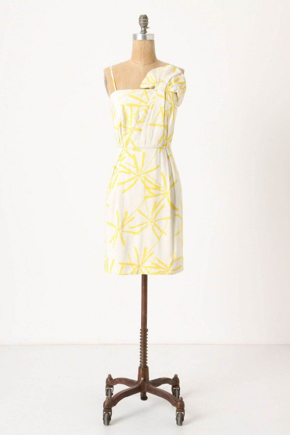 yellow-white-bridesmaid-dress