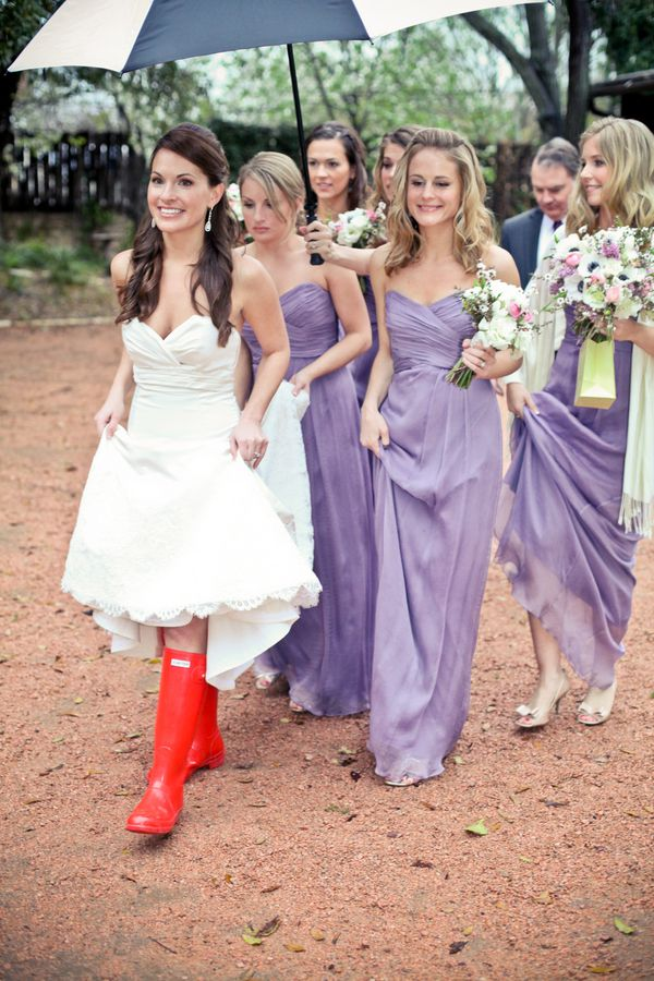 Red Hunter Rain Boots On Bride