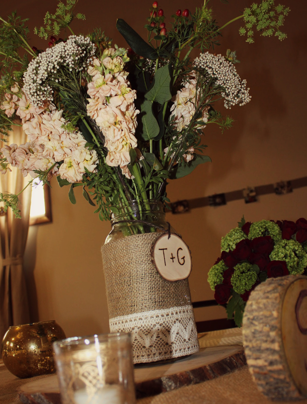 Rustic birthday table decorations image inspiration of for Table arrangements