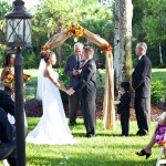 A country backyard wedding ceremony