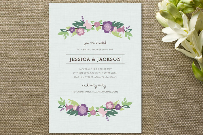 Purple Flower Bridal Shower Invitation : Floral bridal shower invitations rustic wedding chic