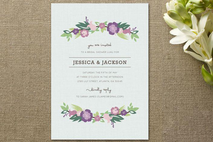 Floral bridal shower invitations rustic wedding chic purple floral bridal shower invitation filmwisefo