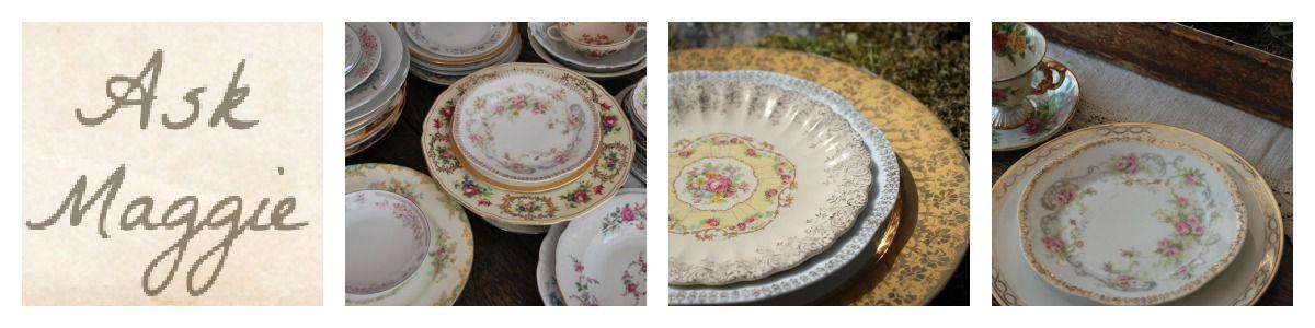 renting-vintage-china & Vintage China Used At Weddings - Rustic Wedding Chic