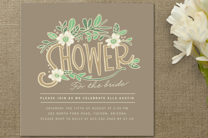 Floral bridal shower invitations rustic wedding chic for Invitations for wedding shower
