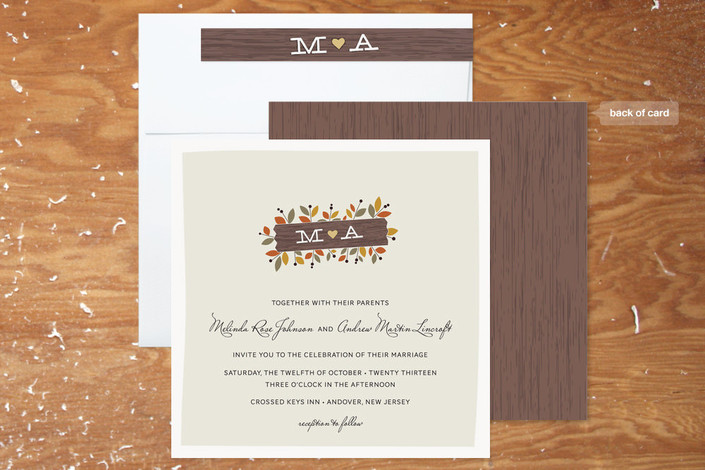 Rustic Wedding Invitations For A Fall Wedding