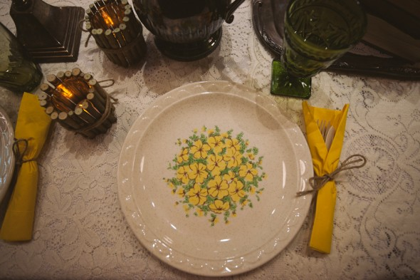 Vintage china and plates at wedding