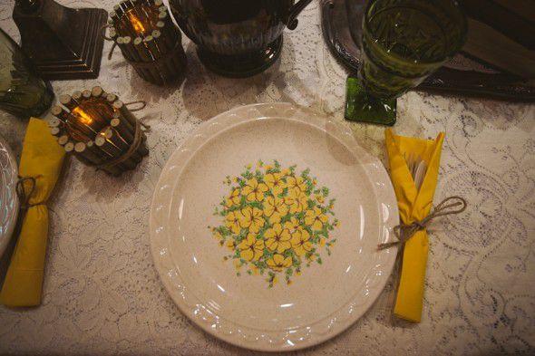 Vintage china and plates at wedding