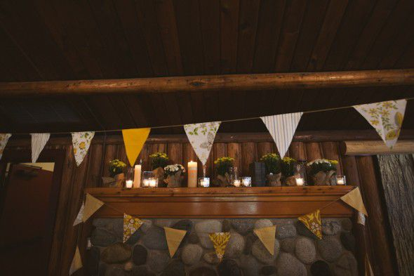 A lodge style wedding with banner wedding decorations