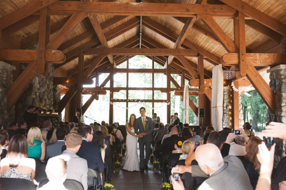 A lodge style wedding ceremony