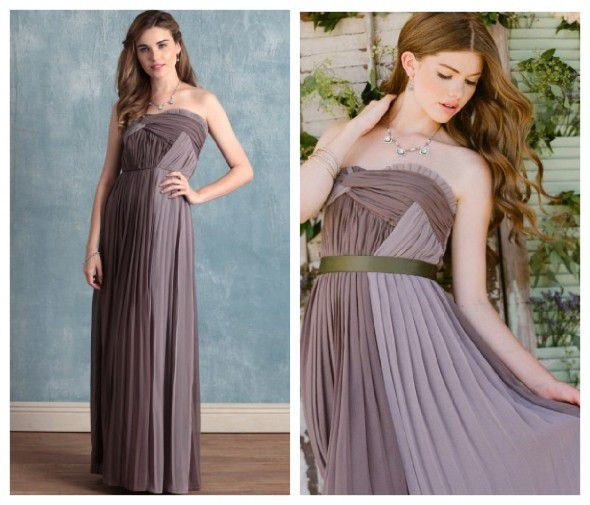 A strapless purple bridesmaid vintage wedding dress