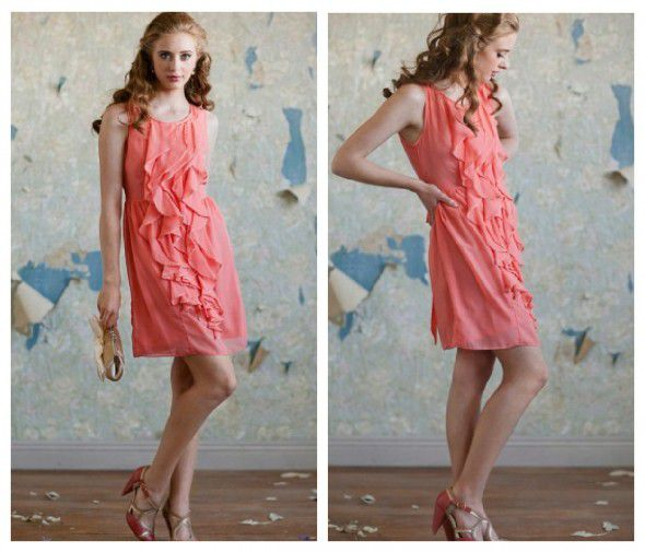 A coral bridesmaid dress from rusticweddingchic.com