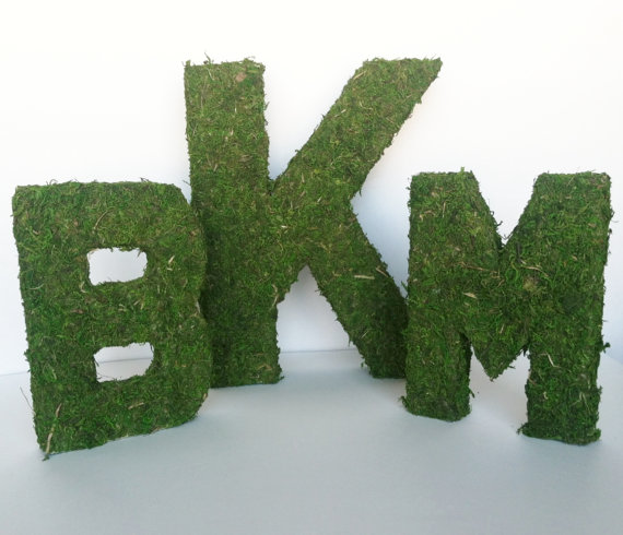 Oversized moss letters for rustic wedding