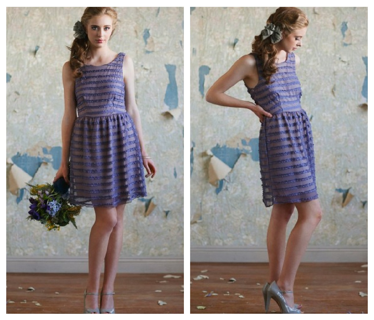A purple ruffle bridesmaid dress for a rustic or vintage style wedding