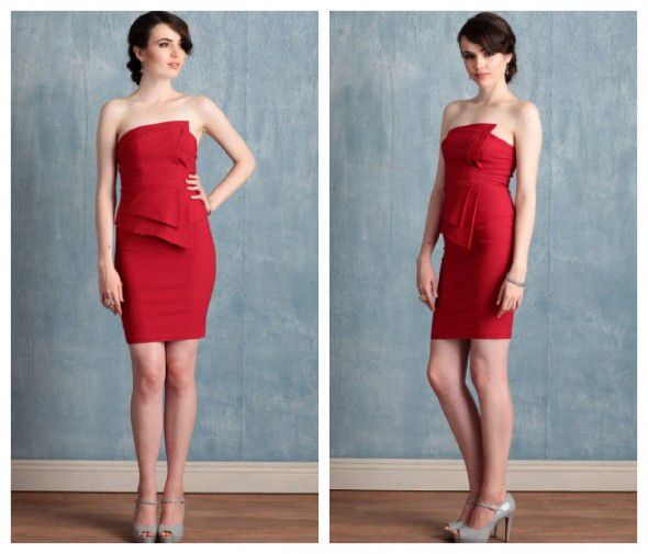 A red strapless bridesmaid dress for a vintage wedding