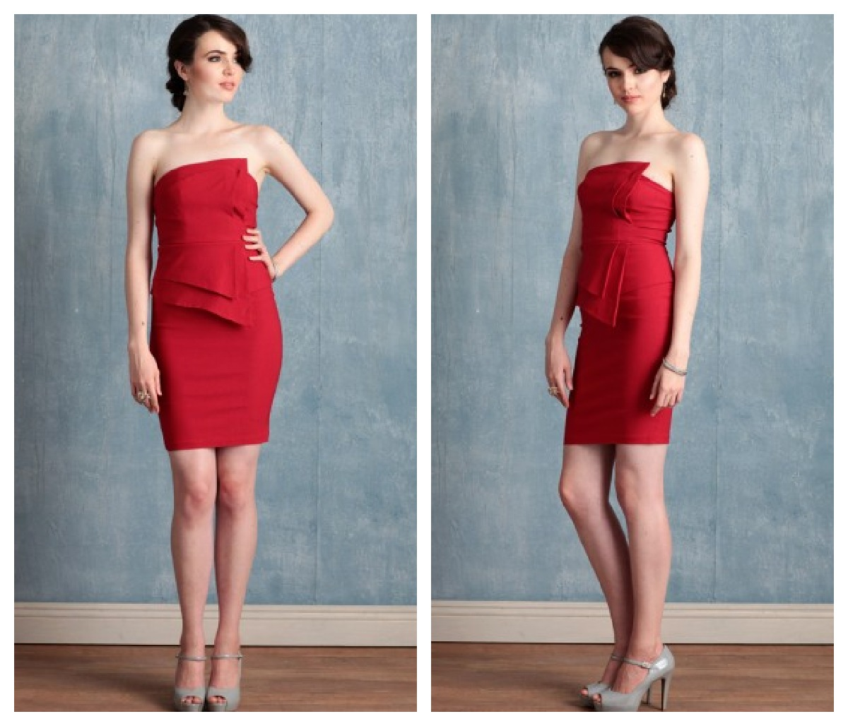 a Red Strapless Bridesmaid
