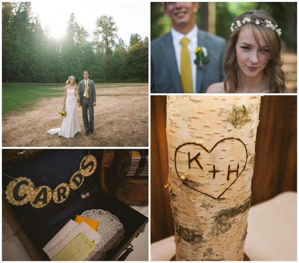 A rustic woodsy wedding with birch decorations