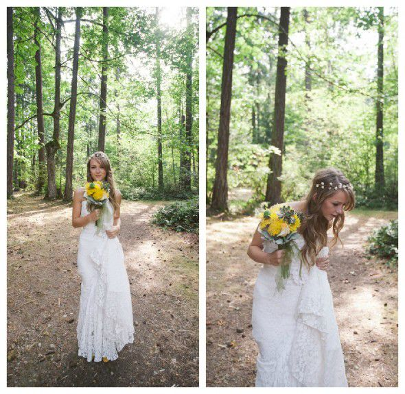 A woodsy rustic bride with a boho style dress