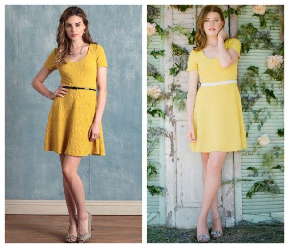 A yellow bridesmaid dress with a belt for a vintage style wedding