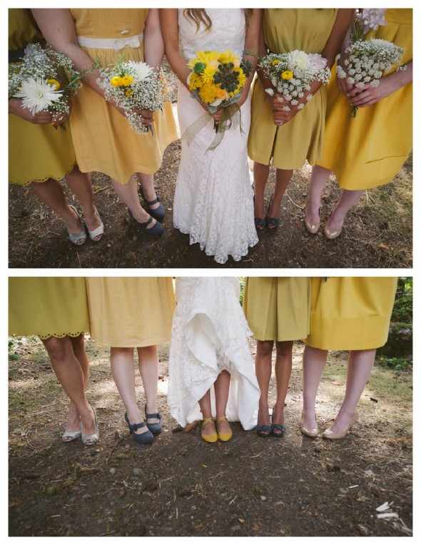 Yellow bridesmaid dresses at an outdoor rustic style wedding