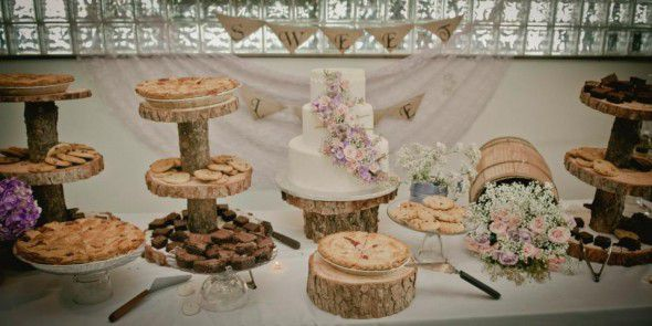 Rustic wedding cake stands made out of wood