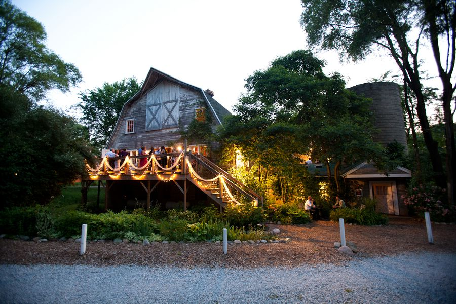 A barn wedding in Michigan with hanging lights