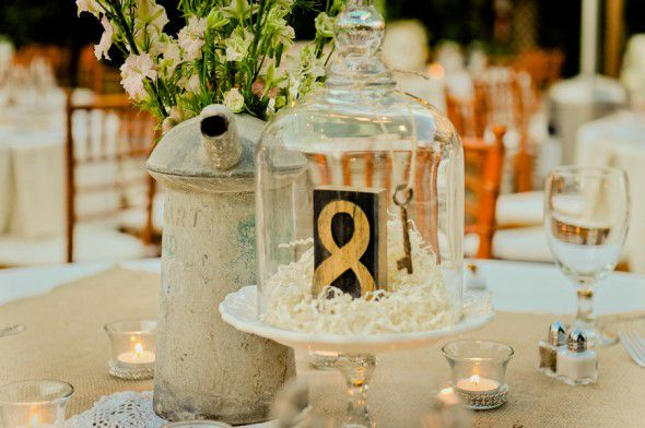 Wedding table numbers made out of cake stands