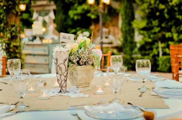 Table decorations for a vintage wedding