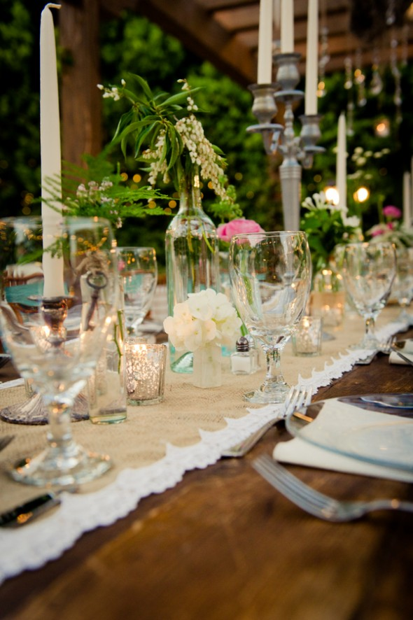 A tablescape at a vintage wedding