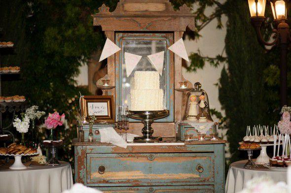 Cake display at a vintage wedding