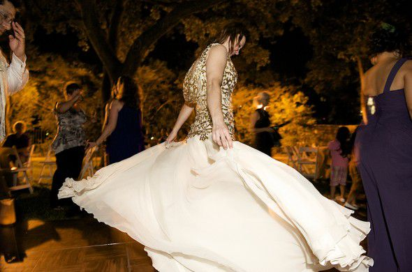 A gold and ivory wedding gown