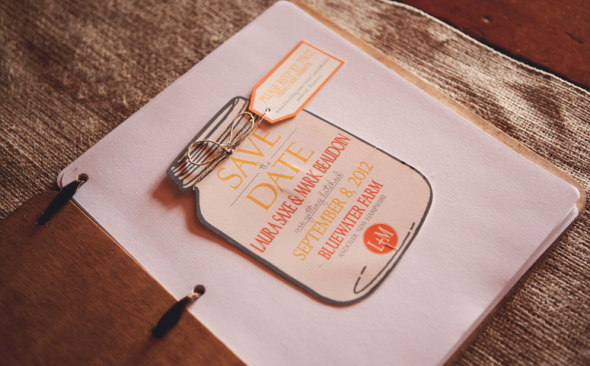 A mason jar save the date card