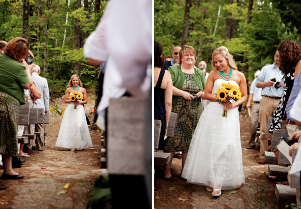 A bride with a sunflower bouquet