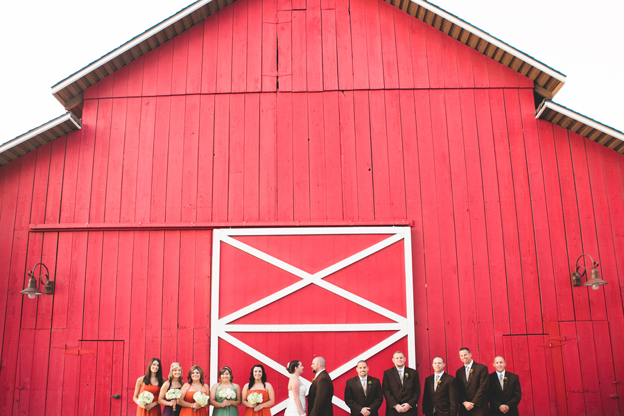 A wedding party in front of a red barn in California