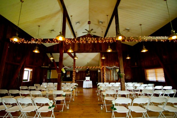 A wedding ceremony in a barn